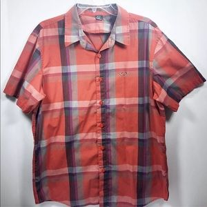 Oakley Short Sleeve Plaid Orange Button Up Shirt L